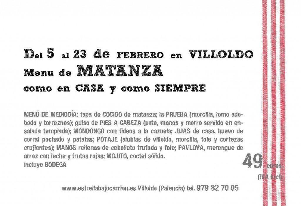 Menú de matanza 2014 en Villoldo. Durante el mes de Febrero